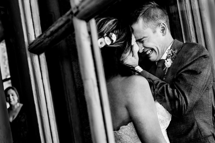 Emotional groom crying with bride at timberline lodge - photo by JOS Studios