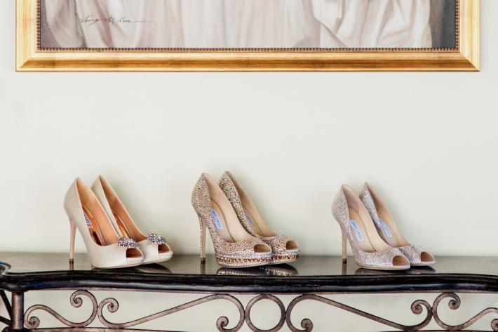 Jimmy Choo - 3 pair shoe ensemble for wedding day and evening - photo by John and Joseph