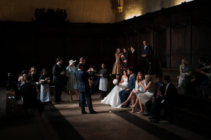 Documentary wedding photo of bride, groom, bridal party and guests by Jeff Ascough, London