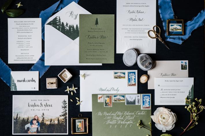Northwest forest inspired invitation - flat lay photo by Sasha Reiko - Seattle