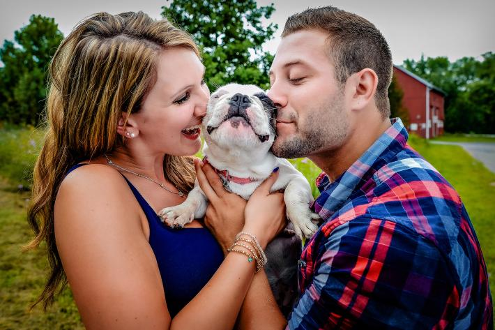 Dog show finalist - puppy with his parents during engagement session