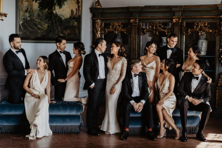 Bridal party wearing elegant ivory wedding bridal gowns and classic tuxedos photography by David Bastianoni - Italy