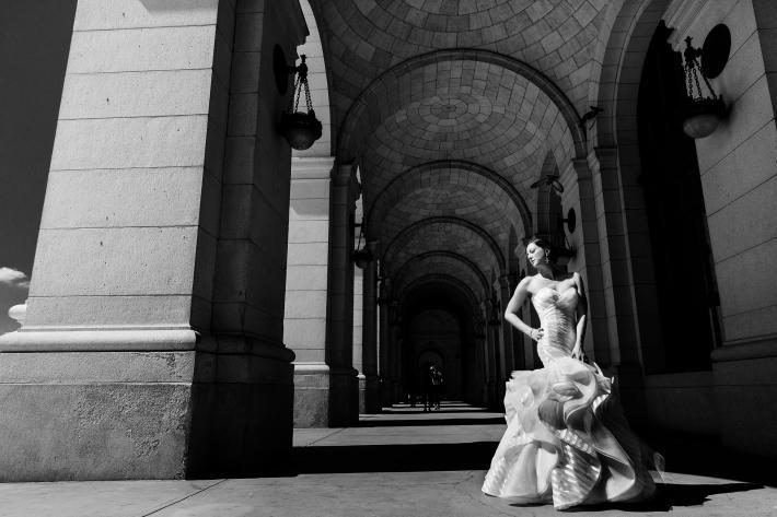 Dramatic portrait of bride in elegant trumpet style wedding dress - photo by Procopio Photography - D.C.