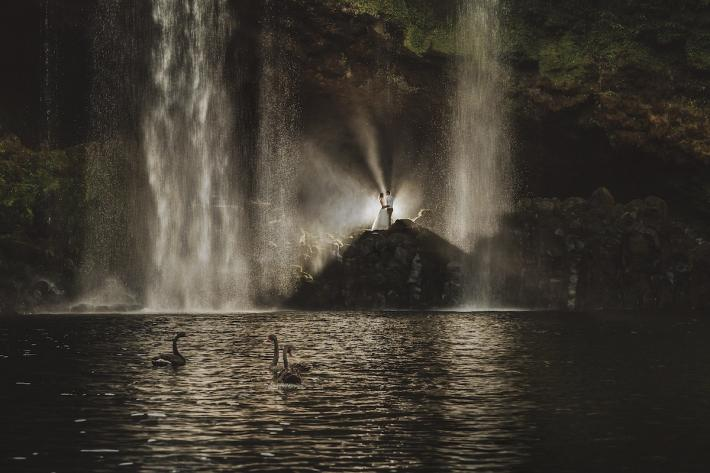 bride-and-groom-next-to-cascading-waterfall-with-swans-in-water-two-little-starfish-new-zealand